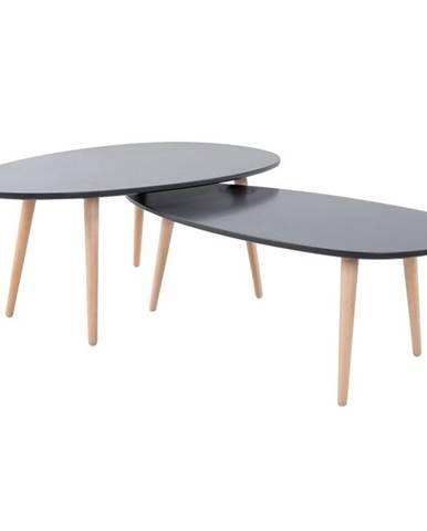 Set 2 konferenčných stolíkov sivá/sivá DOBLO