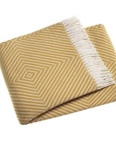 Žltý pléd s podielom bavlny Euromant Tebas, 140 × 160 cm