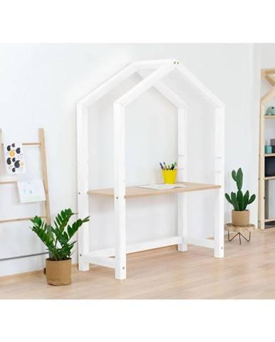 Biely drevený stôl v tvare domčeka Benlemi Stoll, 97 x 39 x 133 cm