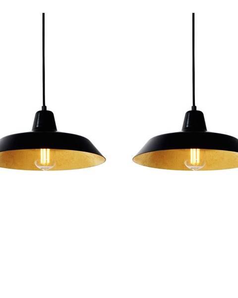 Bulb Attack Závesné svietidlo s 2 čiernymi káblami a tienidlami v čiernej a zlatej farbe Bulb Attack Cinco, ⌀85cm