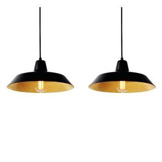 Závesné svietidlo s 2 čiernymi káblami a tienidlami v čiernej a zlatej farbe Bulb Attack Cinco, ⌀85cm