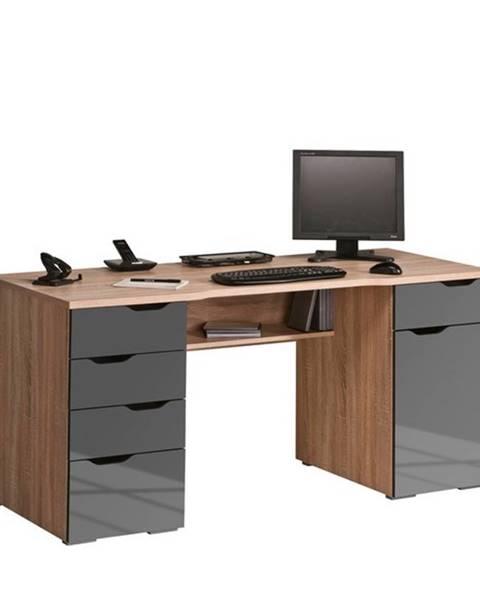 Sconto Počítačový stôl LOKI dub sonoma/sivá vysoký lesk