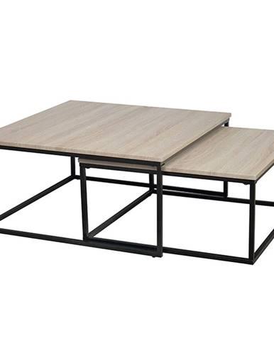 Set dvoch konferenčných stolíkov dub sonoma/ čierna KASTLER TYP 1
