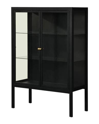 Čierna dvojdverová vitrína Støraa Alva, výška 140 cm