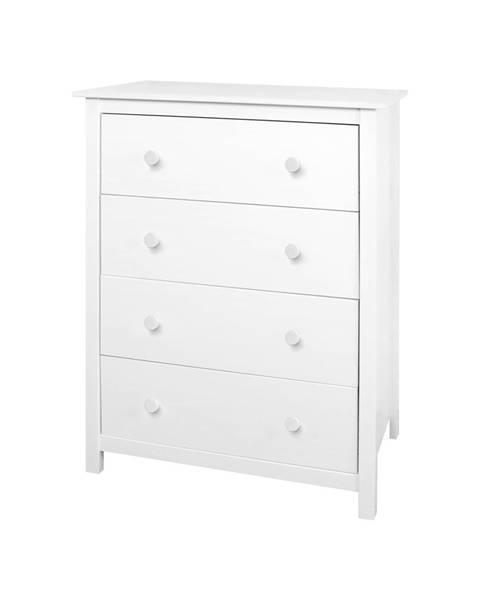 IDEA Nábytok Komoda 4 zásuvky TORINO biela