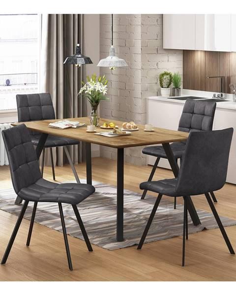 IDEA Nábytok Jedálenský stôl BERGEN dub + 4 stoličky BERGEN sivé mikrovlákno