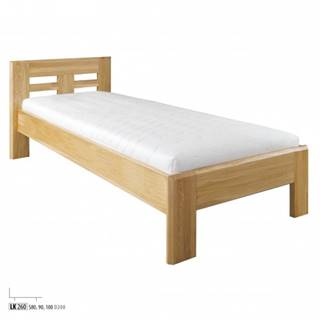 Drewmax Jednolôžková posteľ - masív LK260 | 90 cm dub