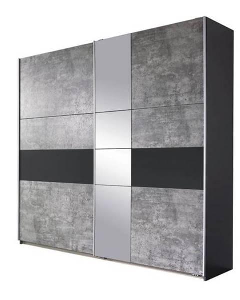 Sconto Šatníková skriňa CADENCE beton/antracitová, šírka 261 cm