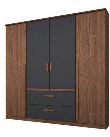 Šatníková skriňa GABRIELLE dub stirling/sivá, 4 dvere, 2 zásuvky
