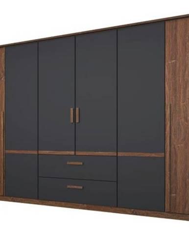 Šatníková skriňa GABRIELLE dub stirling/sivá, 6 dverí, 2 zásuvky