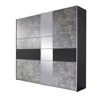 Šatníková skriňa CADENCE beton/antracitová, šírka 261 cm