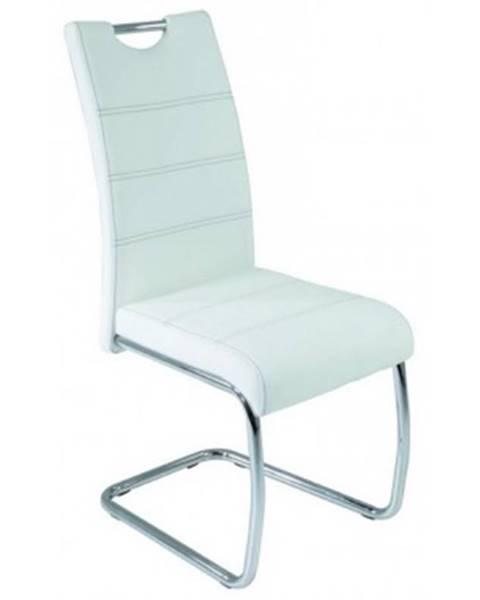 ASKO - NÁBYTOK Jedálenská stolička Flora, biela ekokoža%
