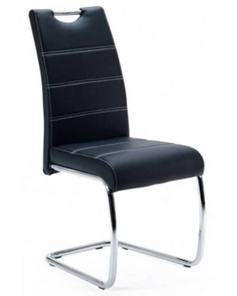 ASKO - NÁBYTOK Jedálenská stolička Flora, černá ekokoža%