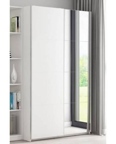 Šatníková skriňa Carlos, biela, 150 cm, posuvné dvere%