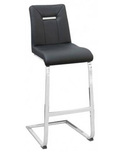 Barová stolička Flex, čierna ekokoža%