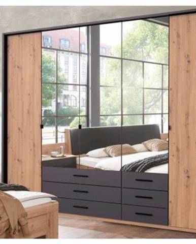 Šatníková skriňa s otočnými dverami Coventry, 225 cm, dub artisan/antracitová oceľ%