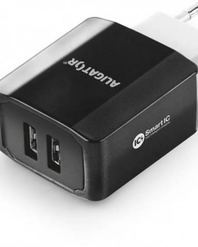 Nabíjačka Aligator 3,4A Smart IC, 2x USB, čierna