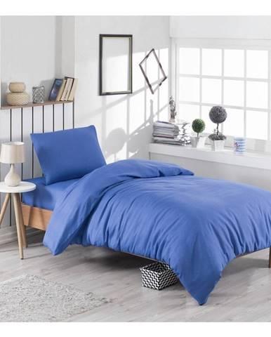 Modré obliečky s prímesou bavlny na jednolôžko Paint, 140 × 200 cm