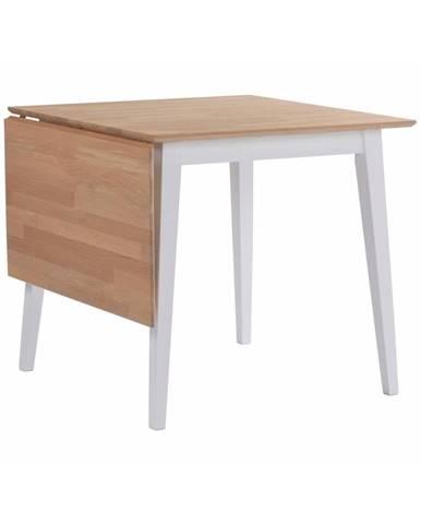 Prírodný sklápací dubový jedálenský stôl s bielymi nohami Rowico Mimi, 80 x 80cm