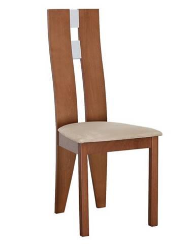 Drevená stolička čerešňa/látka béžová BONA poškodený tovar