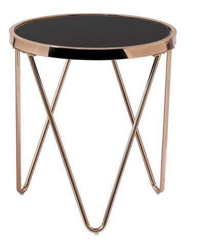 Príručný stolík rose gold chróm ružová/čierna VALERO