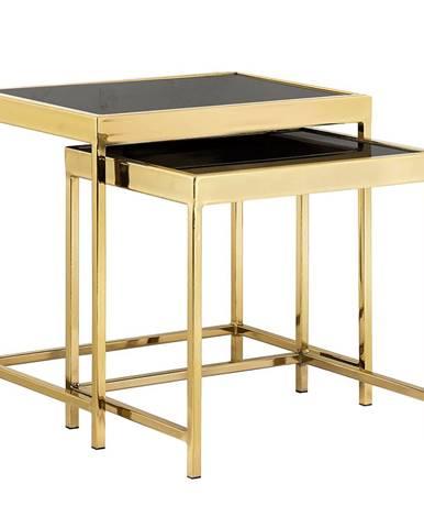 Set 2 konferenčných stolíkov gold chróm zlatá/čierna VITOR