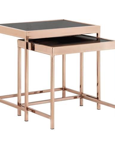 Set 2 konferenčných stolíkov rose gold chróm ružová/čierna VITOR