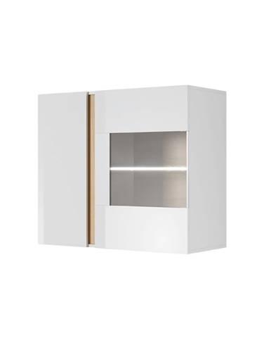 Závesná vitrína 96 biela/dub grandson/biely lesk CITY