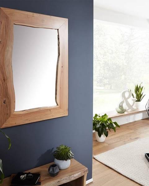 Bighome.sk WOODLAND Zrkadlo 100x70 cm, prírodná, akácia