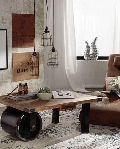 IRON Konferenčný stolík 110x80 cm, mango, prírodná