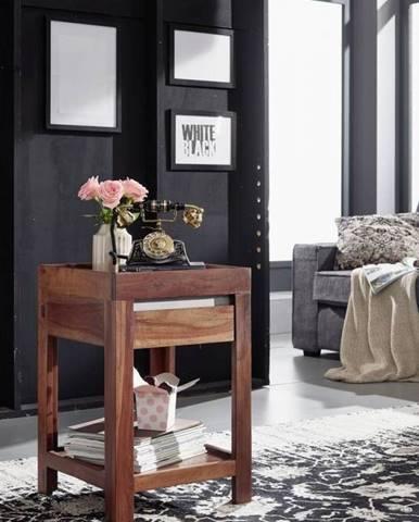 ROUND Príručný stolík 40x40 cm, hnedá, palisander