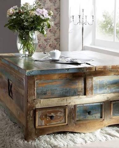 OLDTIME Konferenčný stolík/truhlica 100x100 cm, staré drevo