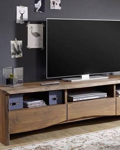 WOODLAND TV stolík 191x50 cm, tmavohnedá, akácia