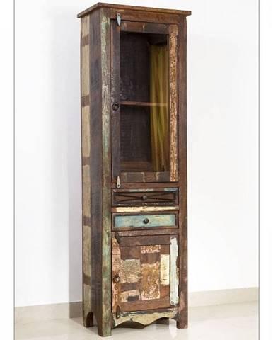OLDTIME Vitrína 190x60 cm, staré drevo