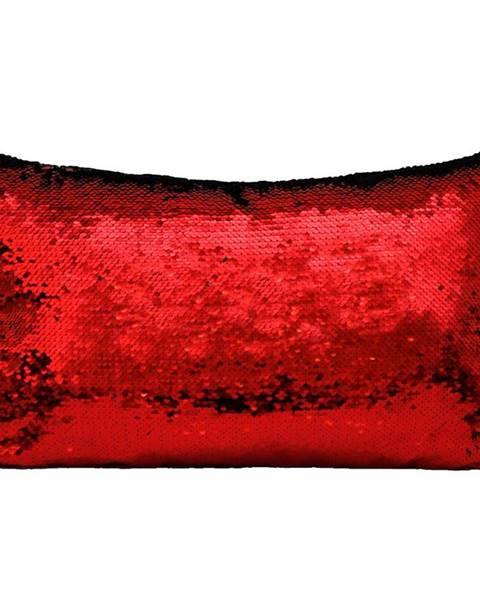 MERKURY MARKET Flitrový vankúš 30x50 čierny+červený