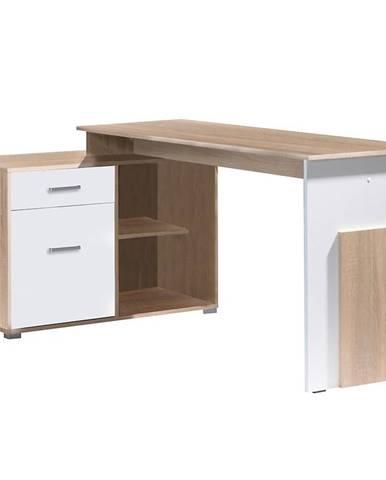 Písací stôl Como Korner dub sonoma/biely alpská 60