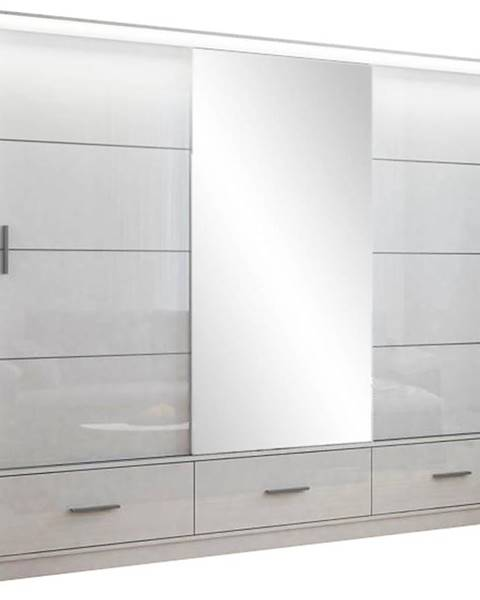 MERKURY MARKET Skriňa Marsylia 250 biela lesk/zrkadlo/biely