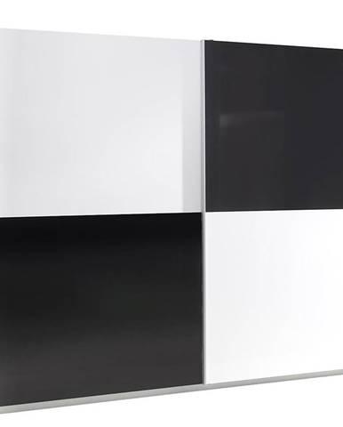 Skriňa Lux 4 244 cm čierna/biela
