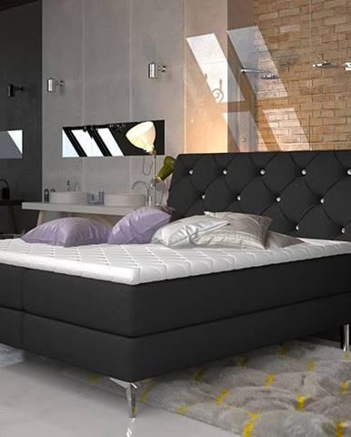 Amika 140 čalúnená manželská posteľ s úložným priestorom čierna (Sawana 14)