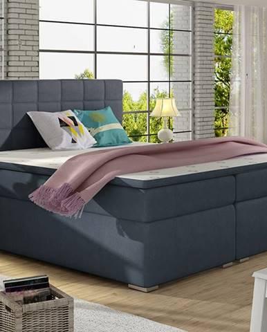 Anzia 160 čalúnená manželská posteľ s úložným priestorom modrá