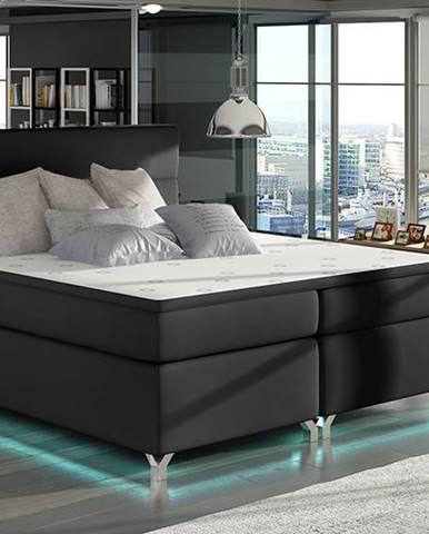 Avellino 180 čalúnená manželská posteľ s úložným priestorom čierna (Soft 11)
