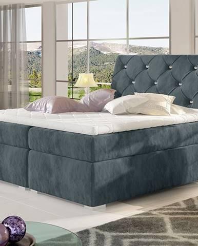Beneto 140 čalúnená manželská posteľ s úložným priestorom tmavosivá (Paros 06)