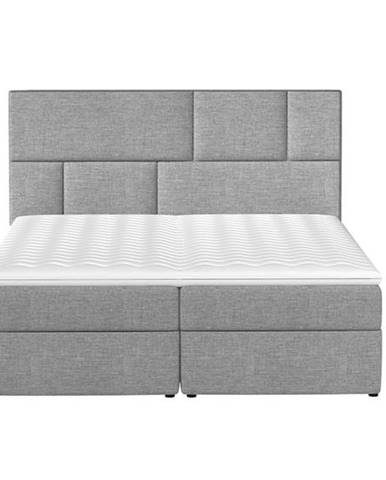 Ferine 145 čalúnená manželská posteľ s úložným priestorom svetlosivá