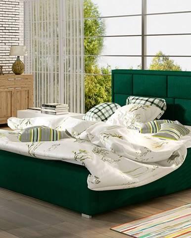 Liza 140 čalúnená manželská posteľ s roštom tmavozelená