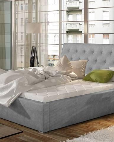 Monzo 160 čalúnená manželská posteľ s roštom svetlosivá (Paros 05)
