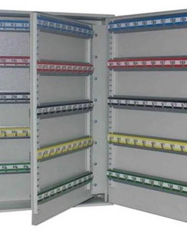 SKR 200 kovová skrinka na kľúče s pohyblivými háčikmi svetlosivá