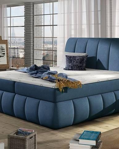 Vareso 180 čalúnená manželská posteľ s úložným priestorom modrá (Orinoco 80)