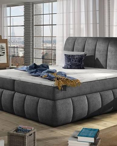 Vareso 180 čalúnená manželská posteľ s úložným priestorom tmavosivá (Omega 13)