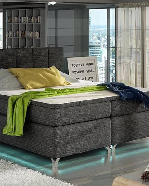 NABBI Barino 180 čalúnená manželská posteľ s úložným priestorom čierna (Berlin 02)