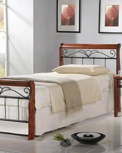 Halmar Veronica 90 kovová jednolôžková posteľ s roštom čerešňa antická